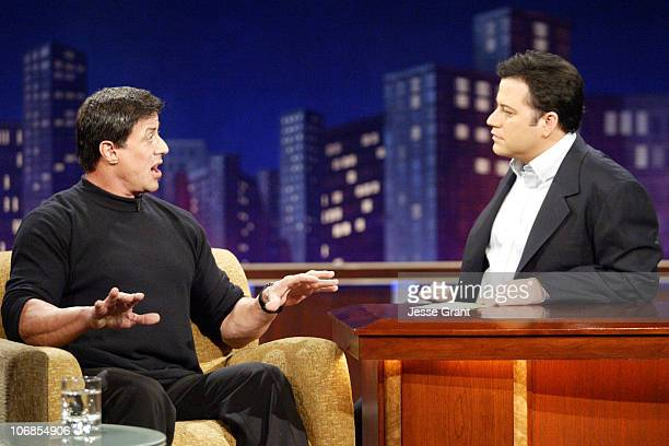 Sylvester Stallone and Host Jimmy Kimmel on the 'Jimmy Kimmel Live' show on ABC Photo by Jesse Grant/WireImagecom/ABC