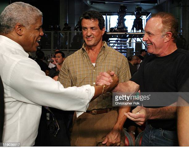 Sylvester Stallone and James Caan during Fernando Vargas vs Fitz Vanderpool Ringside at The Grand Olympic Auditorium in Los Angeles California United...