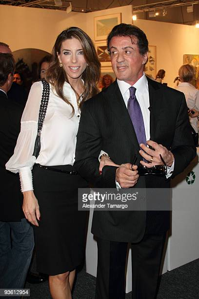 Sylvester Stallone and Jennifer Flavin attend Art Basel on December 2 2009 in Miami Beach Florida
