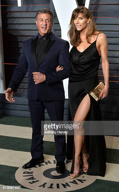 Sylvester Stallone and Jennifer Flavin attend the 2016 Vanity Fair Oscar Party hosted By Graydon Carter at Wallis Annenberg Center for the Performing...