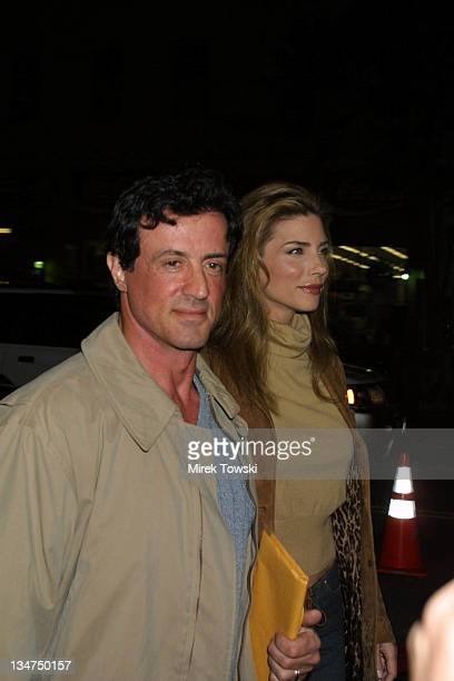 Sylvester Stallone and Jennifer Flavin during '3000 Miles to Graceland' Los Angeles Premiere Arrivals at Mann's Grauman Chinese Theater in Hollywood...