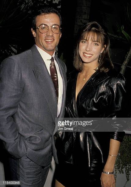 Sylvester Stallone and Jennifer Flavin during Sylvester Stallone and Jennifer Flavin Sighting at Spago's Restaurant in Hollywood April 4 1990 at...