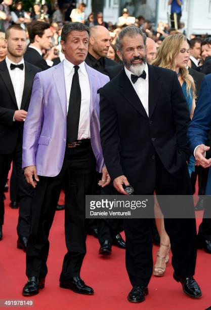 Sylvester Stallone and Mel Gibson attend 'Expendables 3' Premiere at the 67th Annual Cannes Film Festival on May 18 2014 in Cannes France