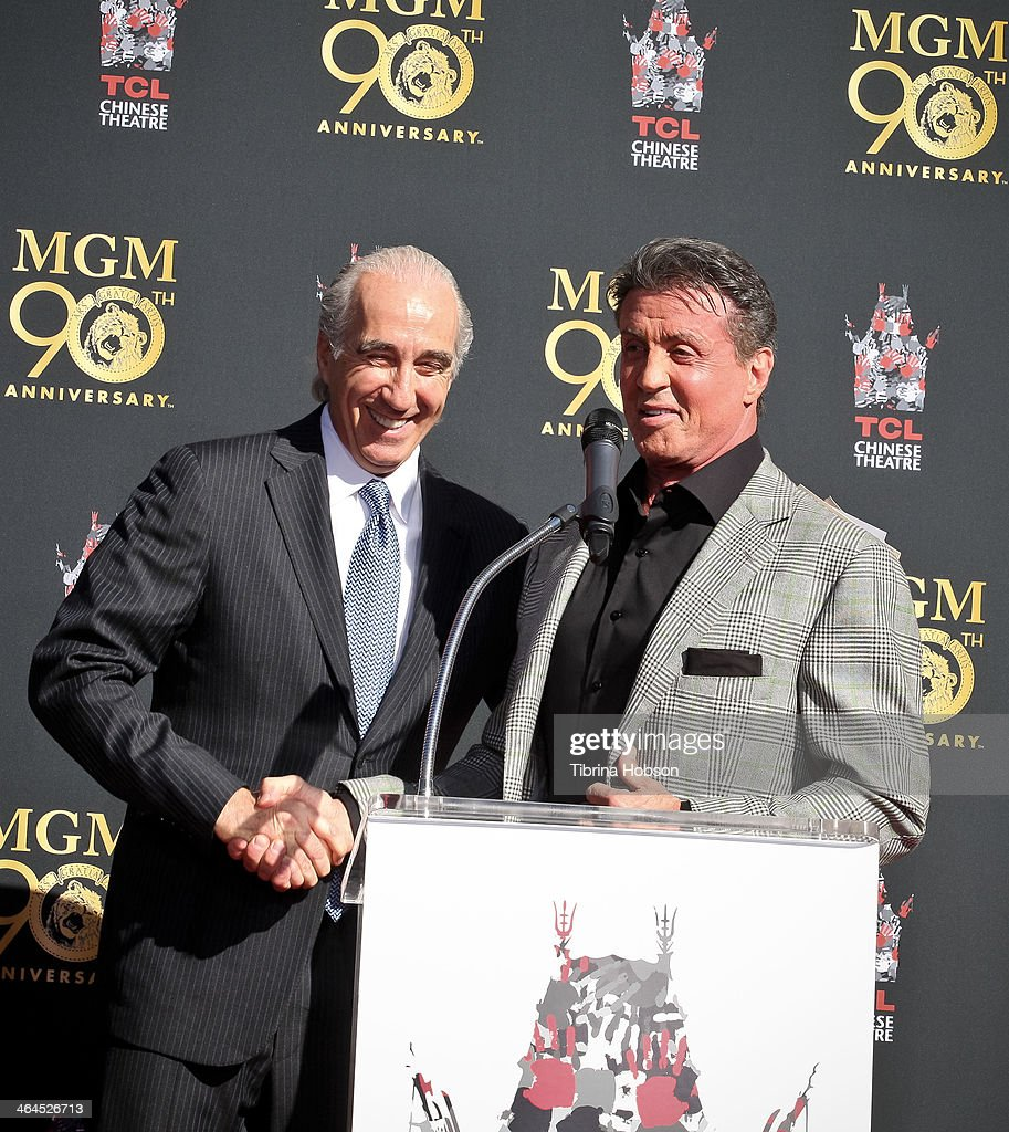 <a gi-track='captionPersonalityLinkClicked' href=/galleries/search?phrase=Sylvester+Stallone&family=editorial&specificpeople=202604 ng-click='$event.stopPropagation()'>Sylvester Stallone</a> (R) and MGM Chairman, CEO <a gi-track='captionPersonalityLinkClicked' href=/galleries/search?phrase=Gary+Barber&family=editorial&specificpeople=683141 ng-click='$event.stopPropagation()'>Gary Barber</a> (L) attend the Metro-Goldwyn-Mayer kicks off 90th Anniversary celebration held at TCL Chinese Theatre on January 22, 2014 in Hollywood, California.