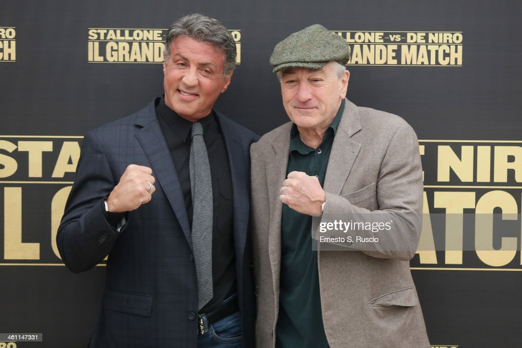 <a gi-track='captionPersonalityLinkClicked' href=/galleries/search?phrase=Sylvester+Stallone&family=editorial&specificpeople=202604 ng-click='$event.stopPropagation()'>Sylvester Stallone</a> and <a gi-track='captionPersonalityLinkClicked' href=/galleries/search?phrase=Robert+De+Niro&family=editorial&specificpeople=201673 ng-click='$event.stopPropagation()'>Robert De Niro</a> attend the 'Grudge Match' Photocall at Hassler Hotel on January 7, 2014 in Rome, Italy.