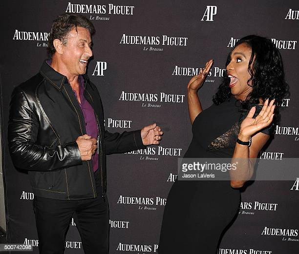 Sylvester Stallone and Serena Williams attend the grand opening of the Audemars Piguet Rodeo Drive Boutiqueon December 9 2015 in Beverly Hills...