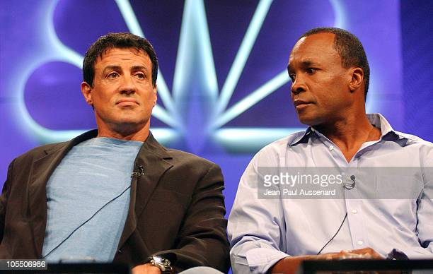 Sylvester Stallone and Sugar Ray Leonard during NBC Summer Press Tour Day One at Century Plaza Hotel in Century City California United States