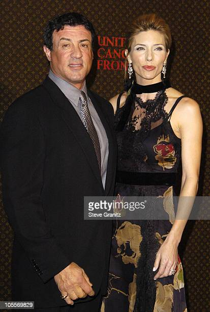 Sylvester Stallone and wife Jennifer Flavin during The Louis Vuitton United Cancer Front Gala at Universal Studios in Universal City California...