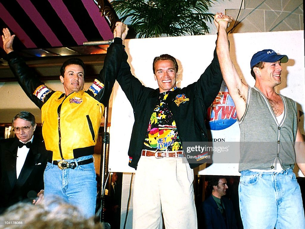 Sylvester Stallone, Arnold Schwarzenegger, And Bruce Willis, Planet Hollywood, London