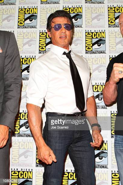 Sylvester Stallone arrives at The Expendables panel on Day 1 of the 2010 ComicCon International at San Diego Convention Center on July 22 2010 in San...