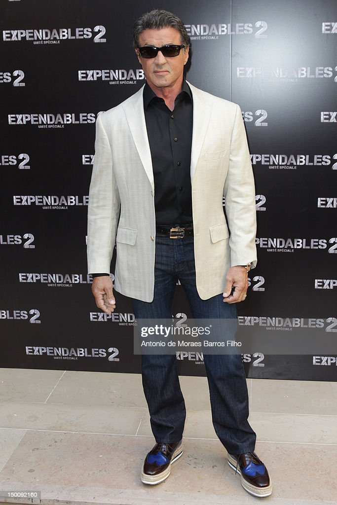 <a gi-track='captionPersonalityLinkClicked' href=/galleries/search?phrase=Sylvester+Stallone&family=editorial&specificpeople=202604 ng-click='$event.stopPropagation()'>Sylvester Stallone</a> attends 'The Expendables 2' Photocall at Hotel George V on August 10, 2012 in Paris, France.