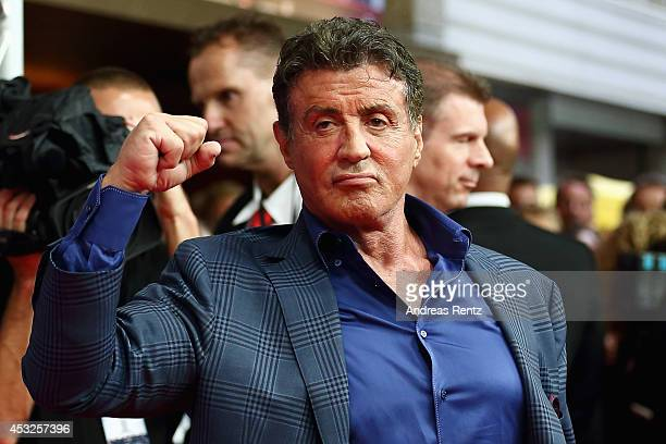Sylvester Stallone attends the German premiere of the film 'The Expendables 3' at Residenz Kino on August 6 2014 in Cologne Germany