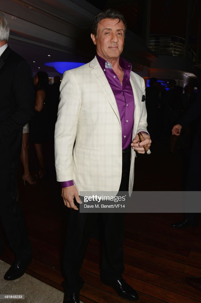 <a gi-track='captionPersonalityLinkClicked' href=/galleries/search?phrase=Sylvester+Stallone&family=editorial&specificpeople=202604 ng-click='$event.stopPropagation()'>Sylvester Stallone</a> attends the Vanity Fair And Armani Party at the 67th Annual Cannes Film Festival on May 17, 2014 in Cap d'Antibes, France.