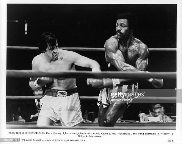 Sylvester Stallone boxes Carl Weathers in a scene from the film 'Rocky' 1976