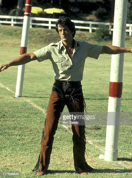 Sylvester Stallone during Celebrity Polo Matches August 28 1983 at Will Rogers State Park in Los Angeles California United States