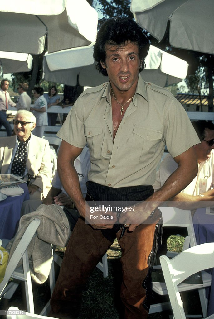 <a gi-track='captionPersonalityLinkClicked' href=/galleries/search?phrase=Sylvester+Stallone&family=editorial&specificpeople=202604 ng-click='$event.stopPropagation()'>Sylvester Stallone</a> during Celebrity Polo Matches - August 28, 1983 at Will Rogers State Park in Los Angeles, California, United States.