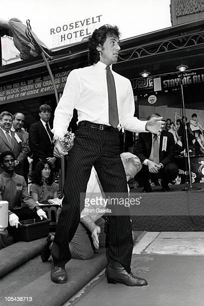 Sylvester Stallone during Sylvester Stallone Footprint Ceremony at Mann's Chinese Theater in Hollywood California United States