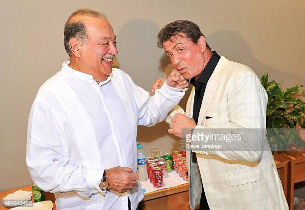 Sylvester Stallone having fun with Carlos Slim the richest man in the worldbefore being honored at the 9th Annual Acapulco Film Festival The powerful...