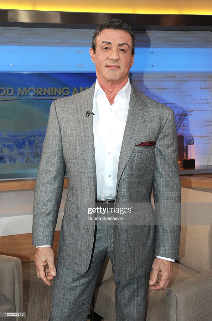 AMERICA - Sylvester Stallone is a guest on 'Good Morning America,' 1/29/13, airing on the ABC Television Network. (Photo by Donna Svennevik/ABC via Getty Images) SYLVESTER
