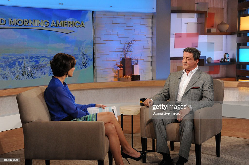 AMERICA - Sylvester Stallone is a guest on 'Good Morning America,' 1/29/13, airing on the ABC Television Network. (Photo by Donna Svennevik/ABC via Getty Images) ELIZABETH VARGAS, SYLVESTER STALLONE