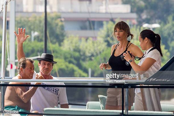 Sylvester Stallone is seen leaving the harbour of Saint Tropez on August 4 2013 in SaintTropez France