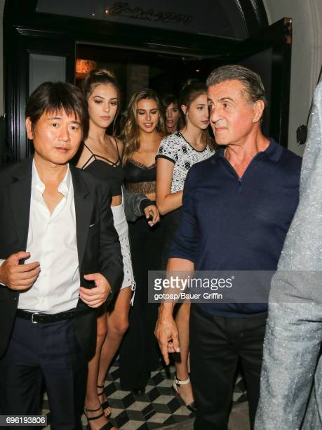 Sylvester Stallone is seen with his daughters Sistine Sophia and Scarlet on June 14 2017 in Los Angeles California