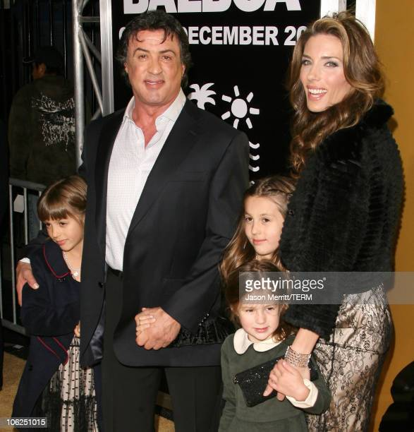Sylvester Stallone Jennifer Flavin and kids during 'Rocky Balboa' World Premiere Arrivals at Chinese Theatre in Hollywood California United States