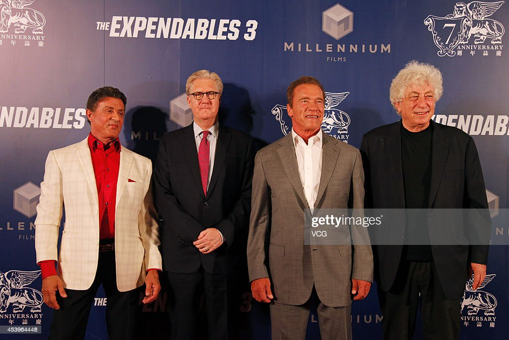 <a gi-track='captionPersonalityLinkClicked' href=/galleries/search?phrase=Sylvester+Stallone&family=editorial&specificpeople=202604 ng-click='$event.stopPropagation()'>Sylvester Stallone</a>, Sands China Ltd. President and CEO Edward Tracy, <a gi-track='captionPersonalityLinkClicked' href=/galleries/search?phrase=Arnold+Schwarzenegger&family=editorial&specificpeople=156406 ng-click='$event.stopPropagation()'>Arnold Schwarzenegger</a> and Chairman and CEO of Nu Image, Inc. <a gi-track='captionPersonalityLinkClicked' href=/galleries/search?phrase=Avi+Lerner&family=editorial&specificpeople=3011896 ng-click='$event.stopPropagation()'>Avi Lerner</a> arrive a special screening of 'The Expendables 3' at The Venetian Macao on August 22, 2014 in Macau, Macau.