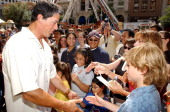 Sylvester Stallone signs autographs during 'Spy Kids 3D Game Over' World Premiere Arrivals at Paramount Theatre in Austin Texas United States