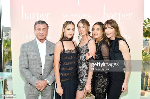 Sylvester Stallone Sistine Stallone Scarlet Stallone Sophia Stallone and Jennifer Flavin Stallone harper x Harper's BAZAAR May Issue Event Hosted by...