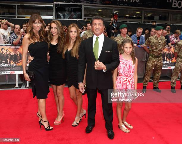 Sylvester Stallone with his wife Jennifer Flavin and children attend the UK film premiere of The Expendables 2 on August 13 2012 in London United...