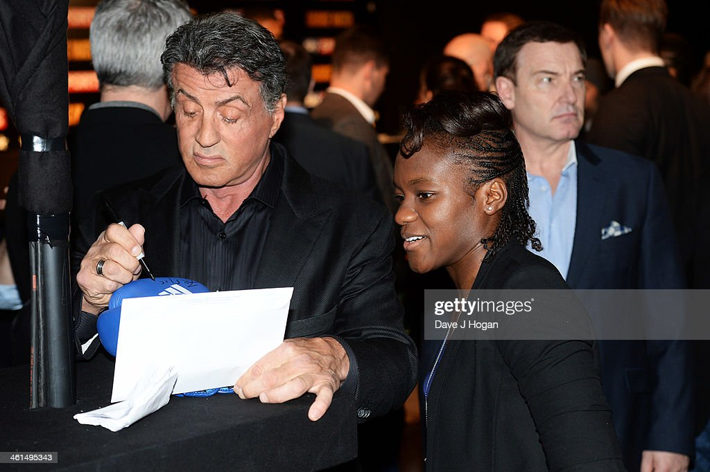 Sylvestor Stallone and <a gi-track='captionPersonalityLinkClicked' href=/galleries/search?phrase=Nicola+Adams&family=editorial&specificpeople=9403811 ng-click='$event.stopPropagation()'>Nicola Adams</a> attend a photo call for 'Grudge Match' at The Dorchester Hotel on January 9, 2014 in London, England.