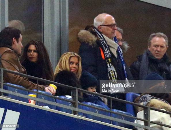 Sylvi van der Vaart watches the Bundesliga match between Hamburger SV and Eintracht Frankfurt at Imtech Arena on February 2 2013 in Hamburg Germany