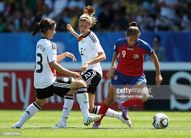 Sylvia Arnold and Stefanie Mirlach of Germany in action with Carolina Venegas of Costa Rica during the FIFA U20 Women's World Cup Group A match...