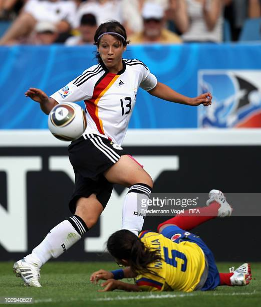 Sylvia Arnold of Germany in action with Natalia Ariza of Colombia during the FIFA U20 Women's Worldd Cup Group A match between Germany and Colombia...