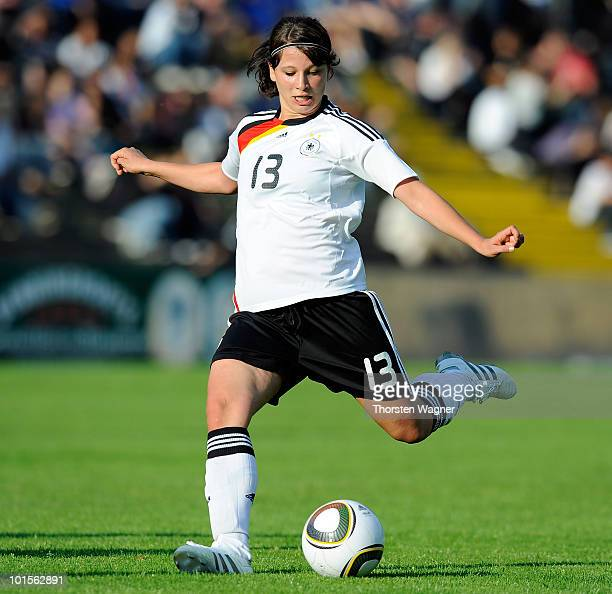 Sylvia Arnold of Germany is scoring her teams 3rd goal during the U20 international friendly match between Germany and South Korea at Waldstadion on...