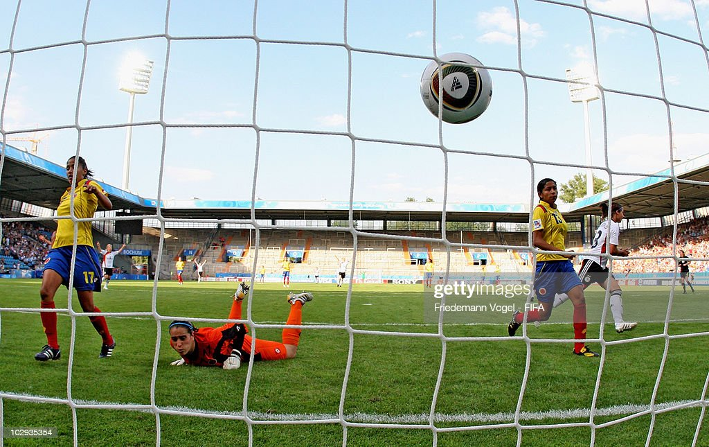 Sylvia Arnold (R) of Germany scoring the second goal during the FIFA U20 Women's World Cup Group A match between Germany and Colombia at the FIFA U-20 Women's Worl Cup stadium on July 16, 2010 in Bochum, Germany.