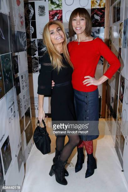 Sylvia de Montmort and Mathilde Favier attend the Launching of the Book 'Mocafico Numero' at Studio des Acacias on February 9 2017 in Paris France