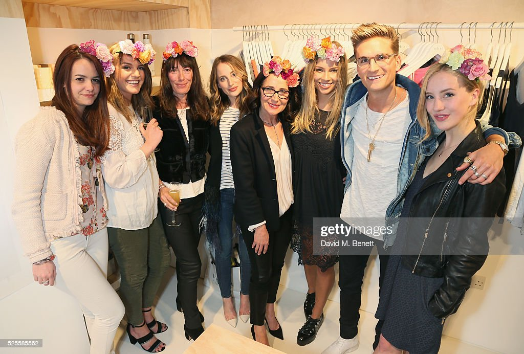 Sylvia Dennis, Monica Beatrice Welburn, Toni Spencer, <a gi-track='captionPersonalityLinkClicked' href=/galleries/search?phrase=Rosie+Fortescue&family=editorial&specificpeople=7851088 ng-click='$event.stopPropagation()'>Rosie Fortescue</a>, Jenny Graham, Emma Louise Connolly, <a gi-track='captionPersonalityLinkClicked' href=/galleries/search?phrase=Oliver+Proudlock&family=editorial&specificpeople=9079738 ng-click='$event.stopPropagation()'>Oliver Proudlock</a> and Sarah Mikaela attend the launch of the first UK Velvet by Graham and Spencer store at St Christopher's Place on April 28, 2016 in London, United Kingdom.