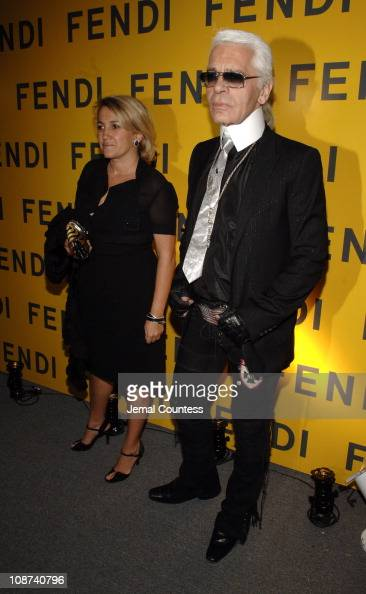 Sylvia Fendi and Karl Lagerfeld during Fendi New York City Flagship Store Opening Inside at Fendi Flagship Store in New York City New York United...