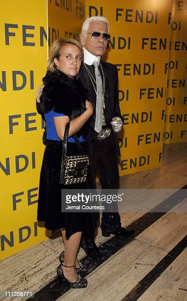 Sylvia Fendi and Karl Lagerfeld during Fendi Presents 'The All Hollows Eve Party' at 25 Broadway in New York City New York United States