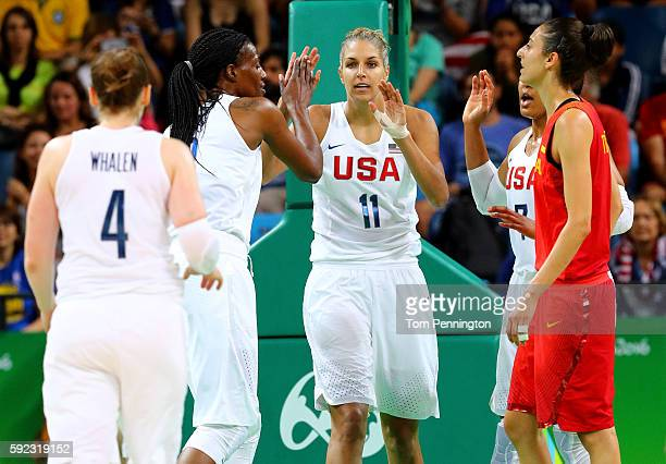Sylvia Fowles and Elena Delle Donne of United States celebrate a play during the Women's Gold Medal Game between United States and Spain on Day 15 of...