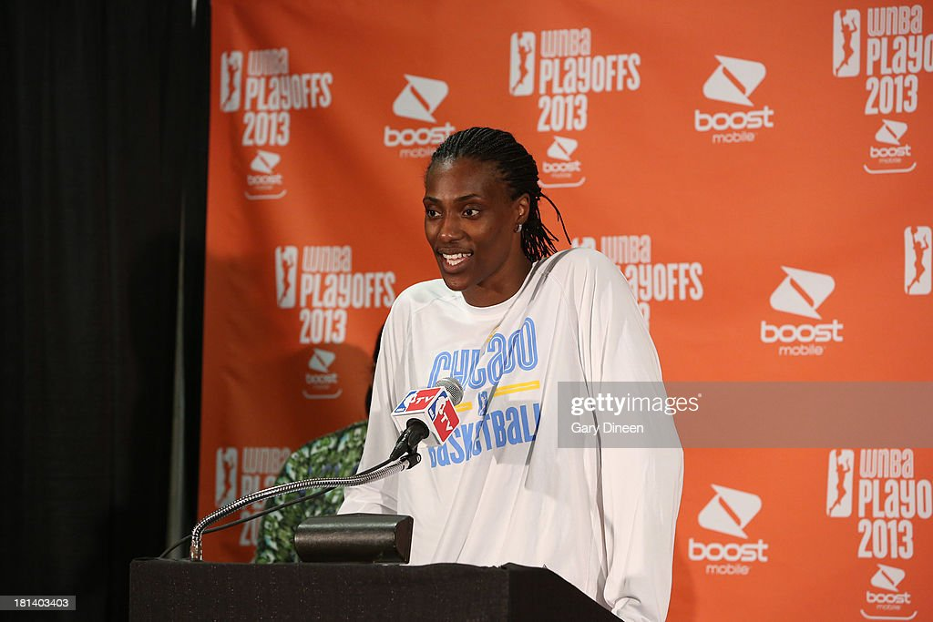 Sylvia Fowles #34 of the Chicago Sky addresses the media after being named the recipient of the 2013 WNBA Defensive Player of the Year award during a press conference on September 20, 2013 at the Allstate Arena in Rosemont, Illinois.