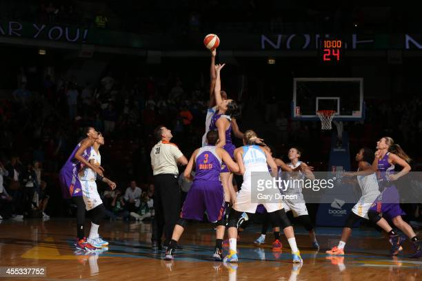 Sylvia Fowles of the Chicago Sky battles for the jump ball in Game Three of the 2014 WNBA Finals on September 12 2014 at the UIC Pavilion in Chicago...