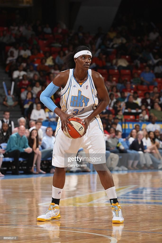 Sylvia Fowles of the Chicago Sky looks to move the ball against the Atlanta Dream during the game on June 12 2009 at the UIC Pavilion in Chicago...