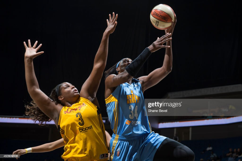 <a gi-track='captionPersonalityLinkClicked' href=/galleries/search?phrase=Sylvia+Fowles+-+Basketball+Player&family=editorial&specificpeople=707903 ng-click='$event.stopPropagation()'>Sylvia Fowles</a> #34 of the Chicago Sky shoots against the Tulsa Shock during the WNBA game on July 27, 2014 at the BOK Center in Tulsa, Oklahoma.