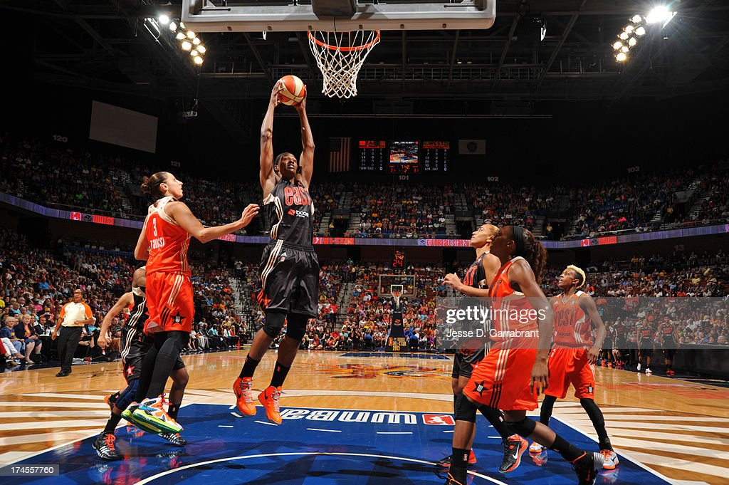 Sylvia Fowles #31 of the Eastern Conference All-Stars rebounds during the 2013 Boost Mobile WNBA All-Star Game on July 27, 2013 at Mohegan Sun Arena in Uncasville, Connecticut.