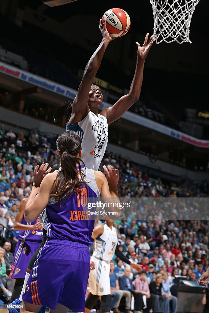Sylvia Fowles of the Minnesota Lynx drives to the basket against the Phoenix Mercury during Game One of the WNBA Western Conference Finals on...