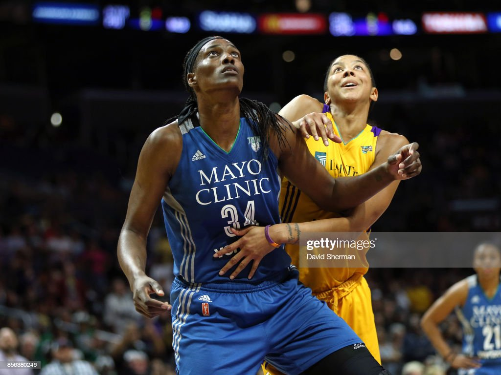 Sylvia Fowles #34 of the Minnesota Lynx fights for position against Candace Parker #3 of the Los Angeles Sparks in Game Three of the 2017 WNBA Finals on September 29, 2017 at the STAPLES Center in Los Angeles, California.