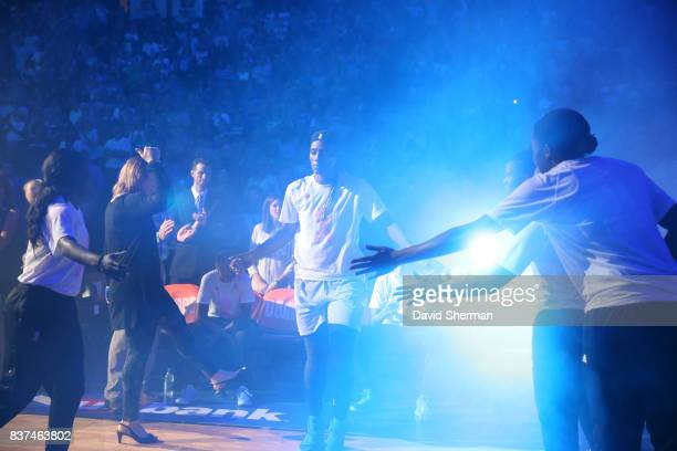 Sylvia Fowles of the Minnesota Lynx gets introduced before the game against the Phoenix Mercury on August 22 2017 at Xcel Energy Center in St Paul...
